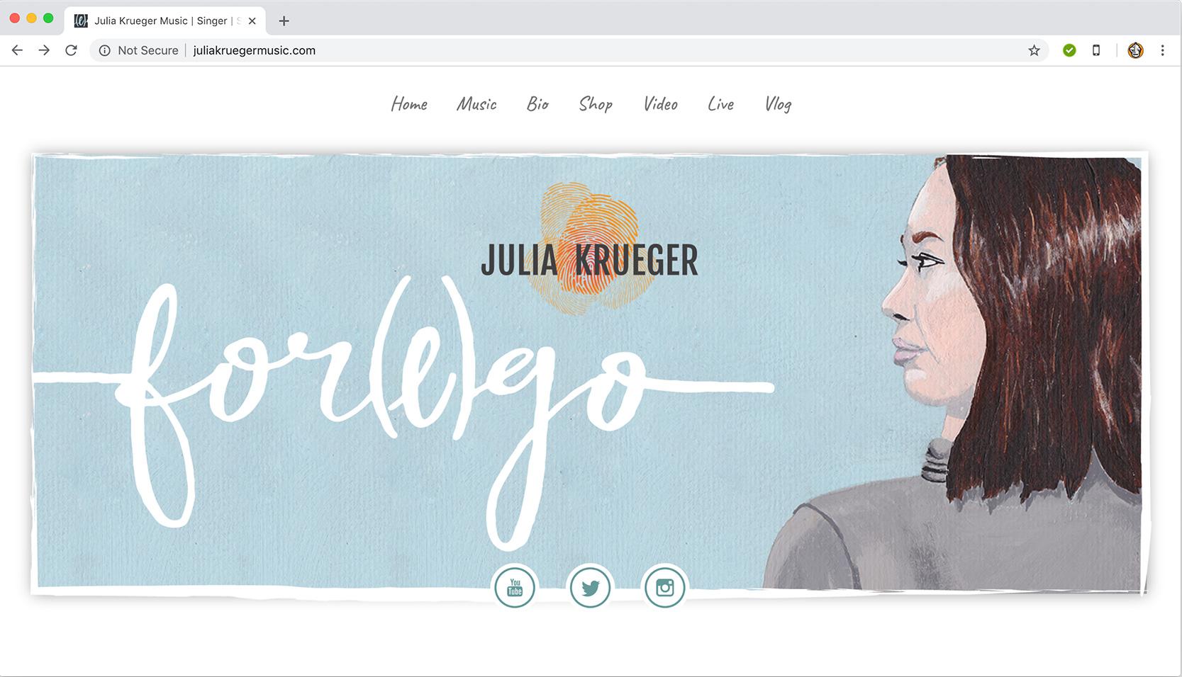 Julia Krueger Website Landing Page