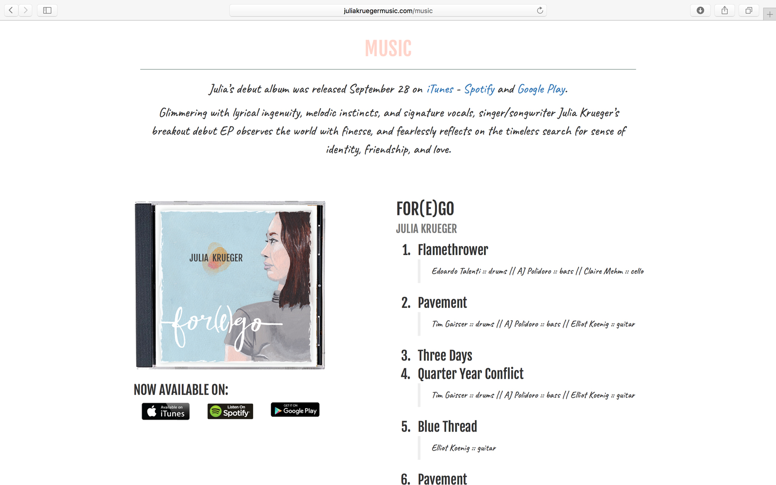 Julia Krueger Website Album Purchase Page