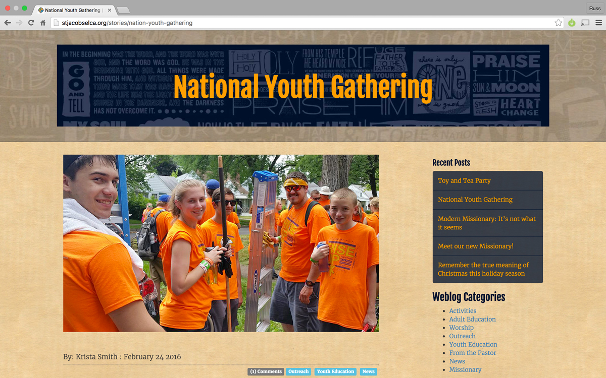News page for St. Jacob's Church Website