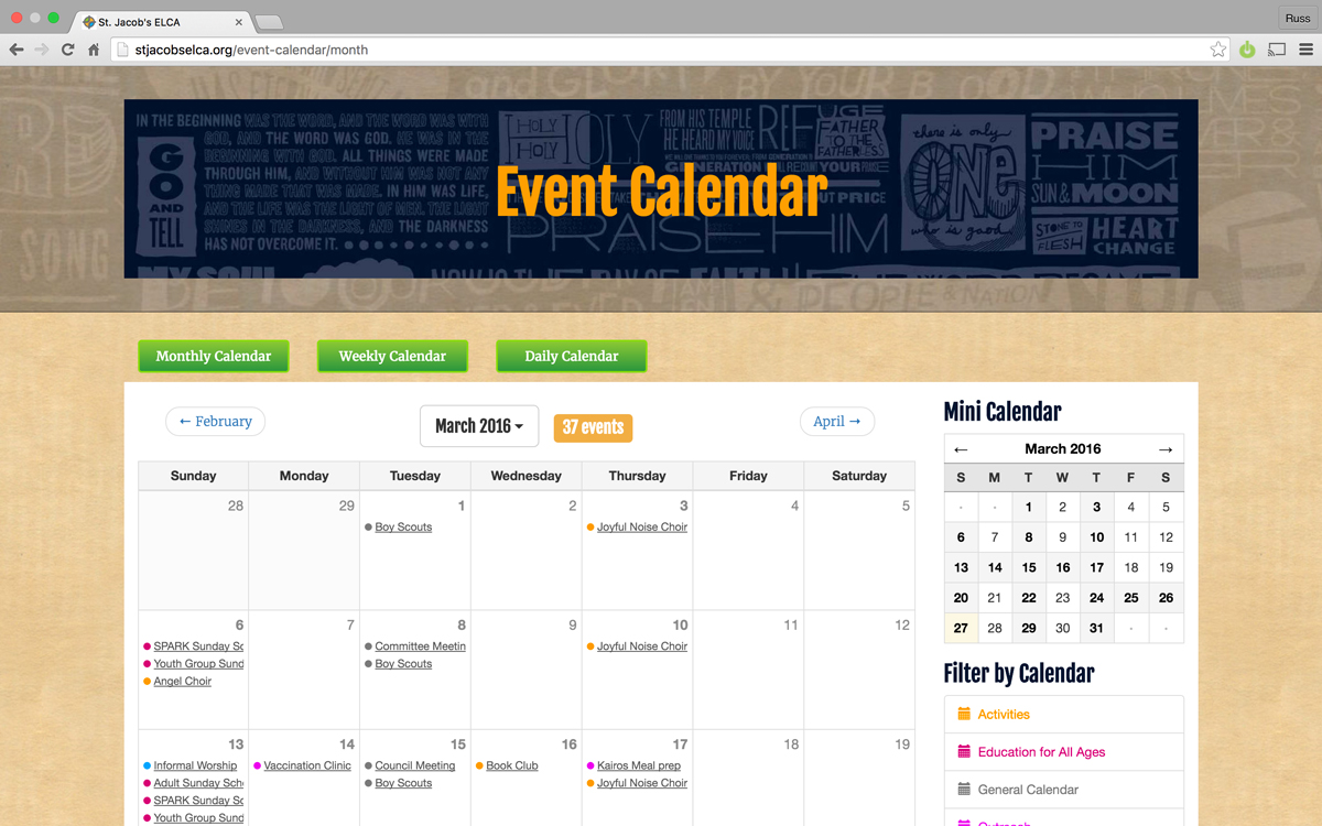Event Calendar on a Church Website